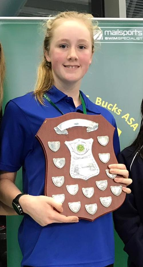 Molly Leamon, aged 13 yrs – 50m Backstroke Junior County Champion