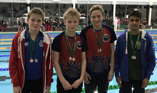Boys 12/13yrs relay team: Silver – 4x100m freestyle; Bronze in 4x100m medley (left to right: Jude Borg-Cardona, Tom Pearce, Toby Davies, Hayam Ukkash)