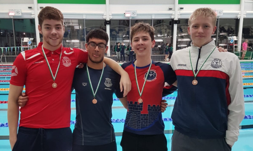 Open boys 4 x 100m Freestyle Relay Team: Bronze medalists (left to right: Shay Race, Reuben Walsh, Moritz Hoogers, Jeremy Toussaint)